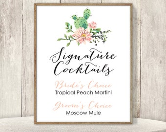 Signature Cocktail Sign / Wedding Bar Sign / Pink Flowers and Cactus Succulent / Mexican Fiesta Sign ▷ Printable File {or} Printed & Shipped