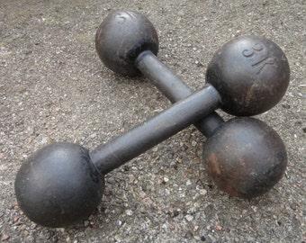 Set Of 2 Vintage Antique Cast Iron Dumbbells // 3 Kg Weights