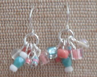 aqua white and peach earrings