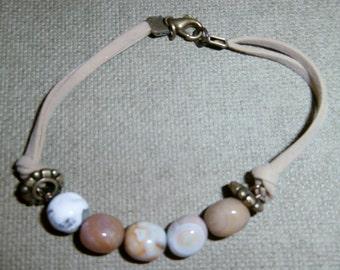 Jasper stone/taupe suede bracelet