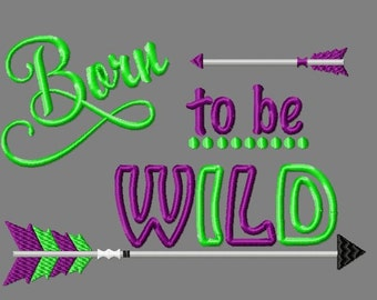 Buy 3 get 1 free!  Born to be wild embroidery design, feathered arrow design, applique design