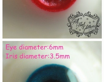 ATG eyes 6mm resin eyes for bjd, custom colors and iris/pupil sizes available