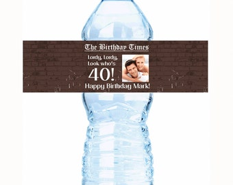 """20 Rustic  Headlines Photo Birthday Water Bottle Labels - Select the quantity you need below in the """"Pricing & Quantity"""" option tab"""