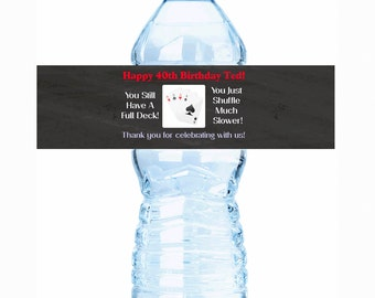 """20 Shuffling with a Full Deck Birthday Water Bottle Labels - Select the quantity you need below in the """"Pricing & Quantity"""" option tab"""