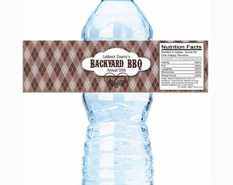 """20 Backyard BBQ Family Reunion Water Bottle Labels- Select the quantity you need below in the """"Pricing & Quantity"""" option tab"""