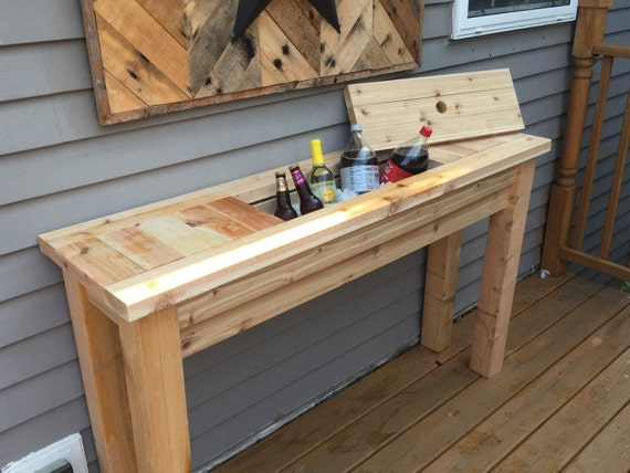 Patio sideboard buffet table with drink cooler for Diy patio table with cooler