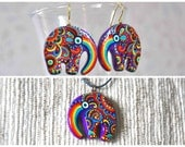 Rainbow elfin elephant set earrings and necklace FREE SHIPPING