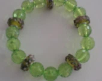 Green Lampwork Beaded Bracelet   (#183)