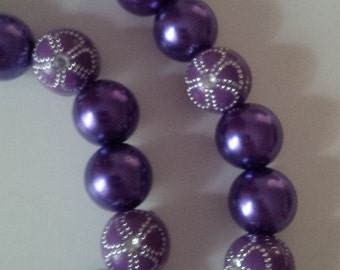 Purple Beaded Necklace and Bracelet Set  (#242)