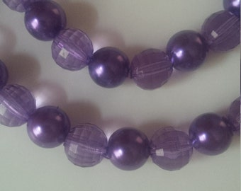 Purple Beaded Necklace & Bracelet Set  (#305)
