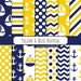 Buy 2 Get 1 Free! Digital Yellow & Blue Nautical Patterns, nautical theme, navy chevron, with white stripes for scrapbook, invite, seamless