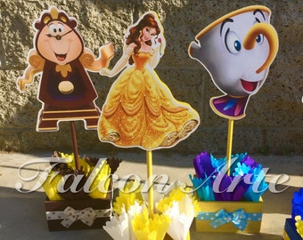 Beauty And The Beast Birthday Centerpiece Chip Mrs. Potts Chip Cogsworth  Lumber Birthday Handcrafted Wood
