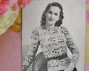 "Vintage Knitting Pattern Lady's 'Music' Fair Isle Jumper. Fit 33"" Bust."