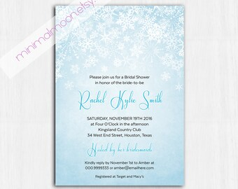 Winter Bridal Shower Invitation, Blue winter Invitation, Printable Digital file, Shower Invitation, shower invite, BLUE WINTER invitation