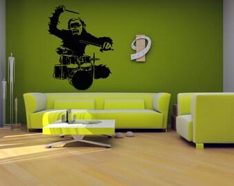 Wall Vinyl Sticker Decals Mural Room Design Pattern Art Monkey Drums Wild Animal Africa bo760