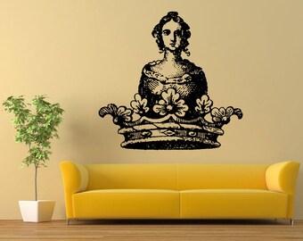 Wall Vinyl Sticker Decals Mural Room Design Pattern Art Princess Crown Girl Cartoon bo1554