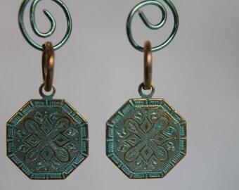 Aqua and Brass Dangles #1640
