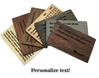 Wallet Insert Card, Wood Wallet Insert Card,Personalized wallet insert card, Anniversary Gift, Valentines Day Sale