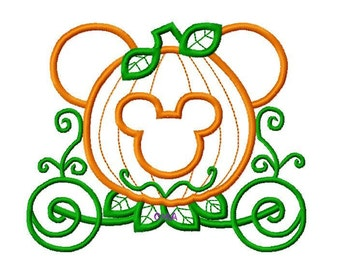 Character Pumpkin Carriage Embroidery Applique Design