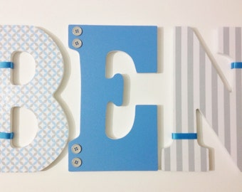 Blue Boy Nursery Letters, Custom Wood Letters, Hanging Baby Letters