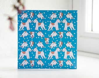 Polka Dot Fox Terrier - Illustrated Greeting Card