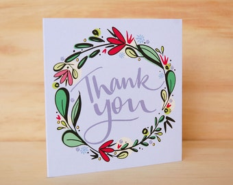 Thank you card - Hand Lettered Card | Floral Greeting Card | Floral Stationery