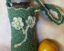 Shells and Flowers Reusable Water Bottle Tote-Wool Blended-Ribbon Trim-Wood Bead Flower Center