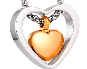 "Cremation Jewelry Stainless Steel ""Heart Within Heart"" Pendant Keepsake Urn Necklace with FREE chain. No.46"