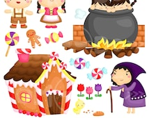 Hansel and Gretel Clipart / Digital Clip Art for Commercial and Personal Use / INSTANT DOWNLOAD