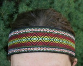 Mens sweatband athletic lined headband Large Men hippie headbands absorbent Native American Aztec Tribal Inspired wide 70s vintage look 2 in
