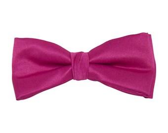 Fuchsia Satin Clip-On Bow Tie