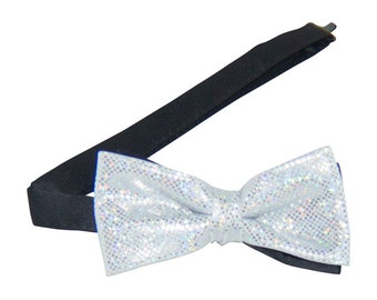 White Sparkling Banded Bow Tie