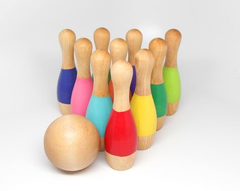 "Wooden 5"" Bowling Set with 10 pins - Kids Wooden Toy / Educational Toy / Montessori Toy / Waldorf Toy"