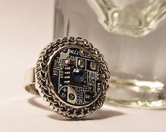 Cyberpunk edgy swarovski crystal motherboard computer ring.