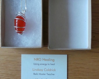Carnelian sterling silver wire wrapped pendant