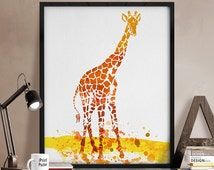 Giraffe watercolor print, Giraffe watercolor poster, Giraffe poster, Giraffe print, Watercolor giraffe, Wall art, Animal poster, Home Decor.