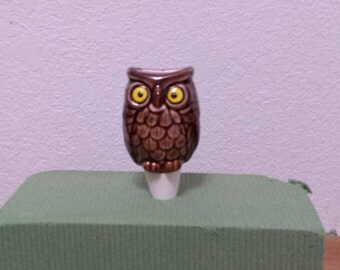 Ceramic Owl Planttender (#145)- Put water in top and it will seep thru the bottom that is stuck in the soil