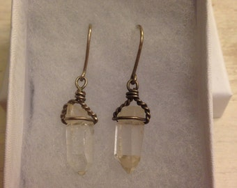 Wire Wrapped Clear Crystal Earrings