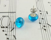 Bright Blue Fused Glass Stud Earrings  - Turquoise Blue Translucent - Simple Small Round Cabochons