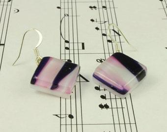 Fused Glass Earrings Pink & Purple Stripes - Drop Dangle Earrings - Simple Stylish Summer Jewelry