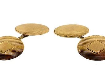 Art Deco 10K Yellow Gold Double-Sided Cufflinks