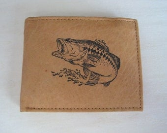 "Mankind Wallets Men's Leather RFID Blocking Billfold w/ ""Large Mouth Bass Fishing"" Image~Makes a Great Gift!"