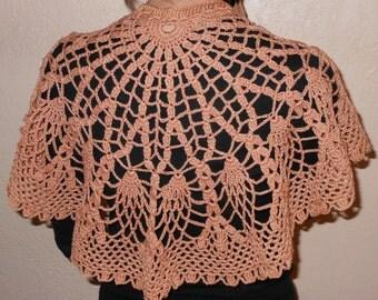 Crochet Shawl, Copper Shawl, Shawl, Black Shawl