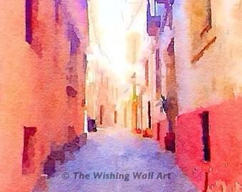 Spanish Architecture Secret Alley Digital Print Wall Art