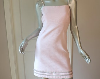 SALE! mod matelasse pink sheath Dress Size XS 0 2 Spring Summer Pilar Rossi Vintage 80s 90s