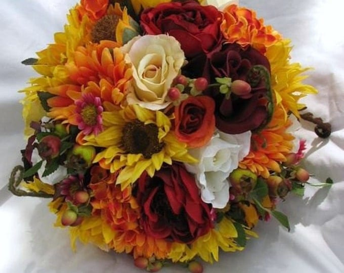 Silk bride bouquet Sunflowers, gerbera, and roses fall colors 2 pc