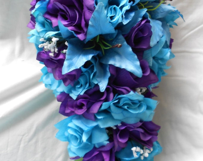 Cascade bridal bouquet turquoise and royal purple Roses ans lilies 21pc