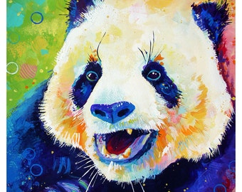 "Smiling Panda - Original colorful traditional painting paper acrylic 11""x14"""