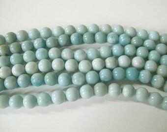 Amazonite round beads. 10mm natural gemstone beads.Icy blue amazonite round beads. Full strand