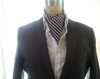 Mens Ascot-Purple and White Silk Striped - Handcrafted - Custom Designed